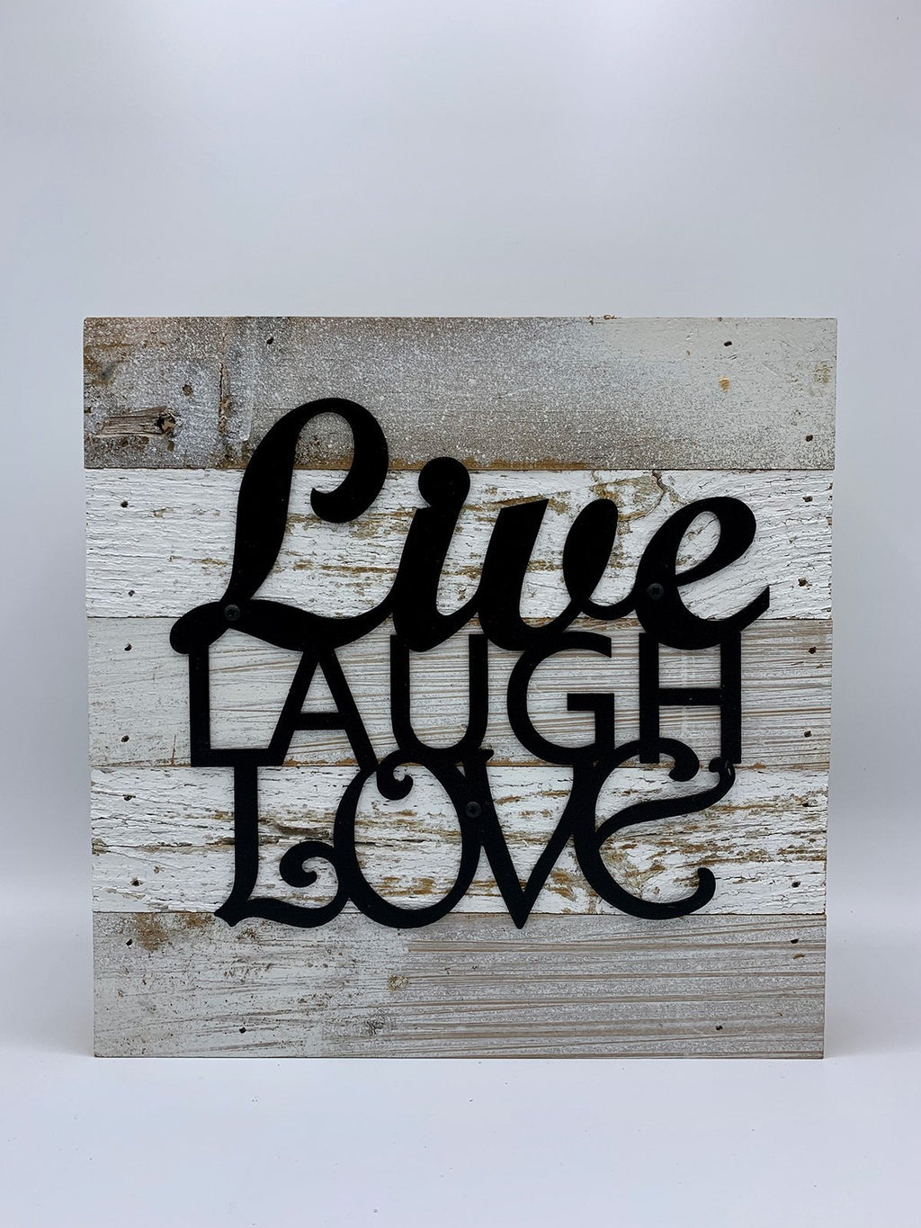 Steel Roots Decor Live Laugh Love Metal Monogram on Reclaimed Wood