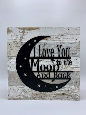 Steel Roots Decor Love you to Moon Metal Monogram on Reclaimed Wood