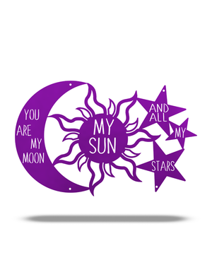 "Steel Roots Decor Metallic Purple ""You are my Moon, My Sun and Stars"" 18"""