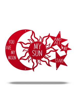 "Steel Roots Decor Metallic Red ""You are my Moon, My Sun and Stars"" 18"""
