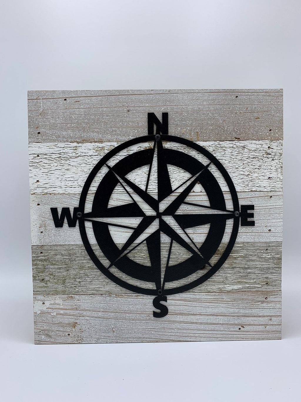 Steel Roots Decor Nautical Compass Metal Monogram on Reclaimed Wood