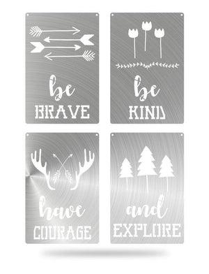 Steel Roots Decor Polished Brave Kind Courage Explore 4 Pack