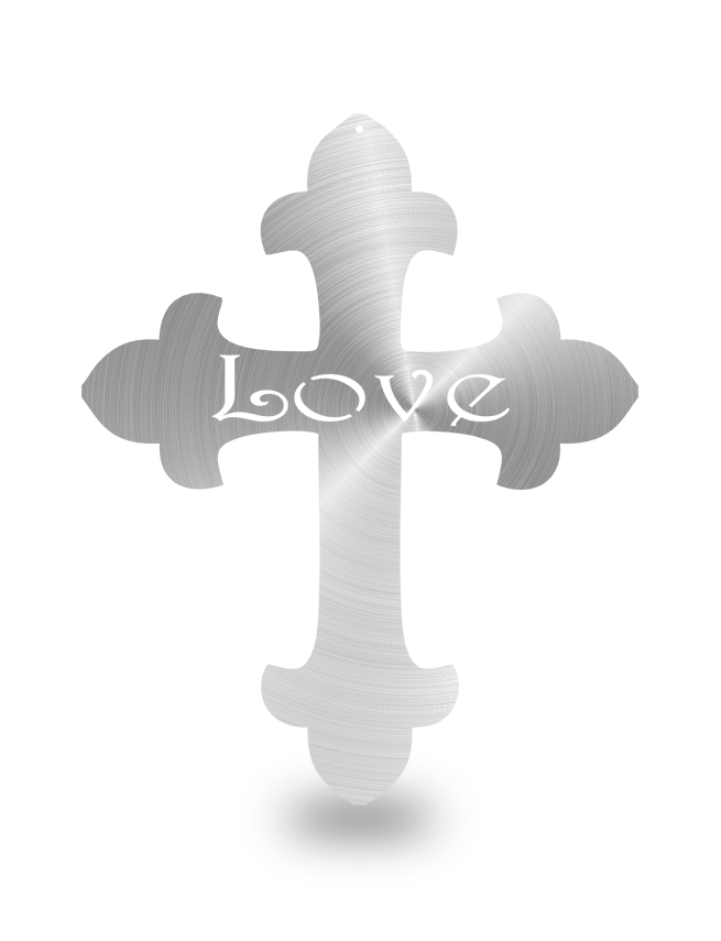 "Steel Roots Decor Polished ""Cross Love"" Wall Décor"
