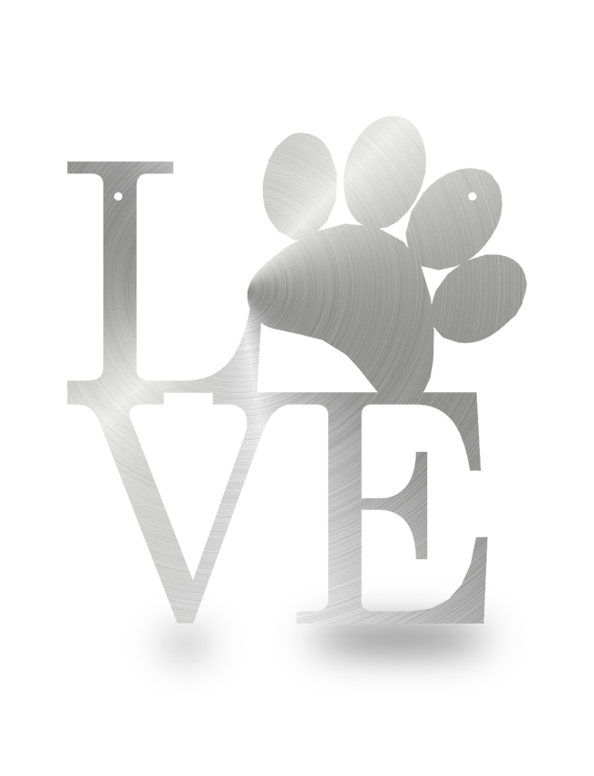 Steel Roots Decor Polished Dog Paw Love