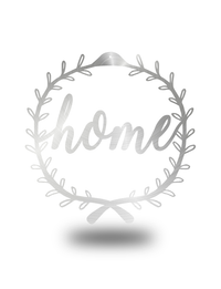 """Floral Home"" Wreath Cursive Wall Art"