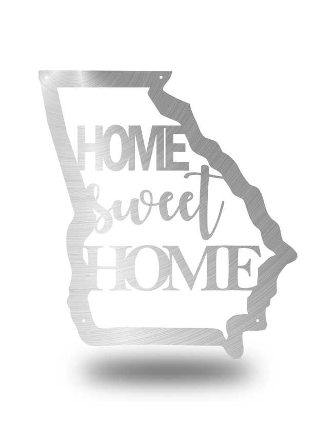 "Steel Roots Decor Polished ""Home Sweet Home GA"" Wall Art"