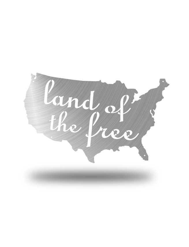 Steel Roots Decor Polished Land Of The Free U.S. Outline