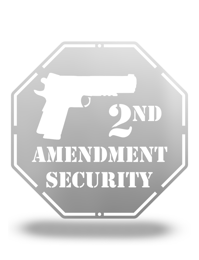 Steel Roots Decor Polished Silver 2nd Amendment Security, 12""