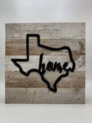 "SteelRootsShop Christmas gift ANY Metal State Outline ""Home"" on Reclaimed Wood 10""x10"""