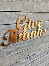 "SteelRootsShop ""Give Thanks"" Word Art"