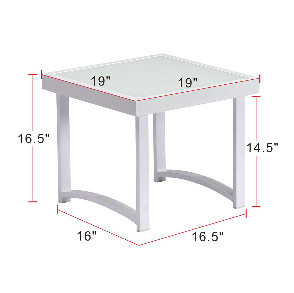 End Tables / Outdoor Side Table / Patio Tempered Glass Accent Table