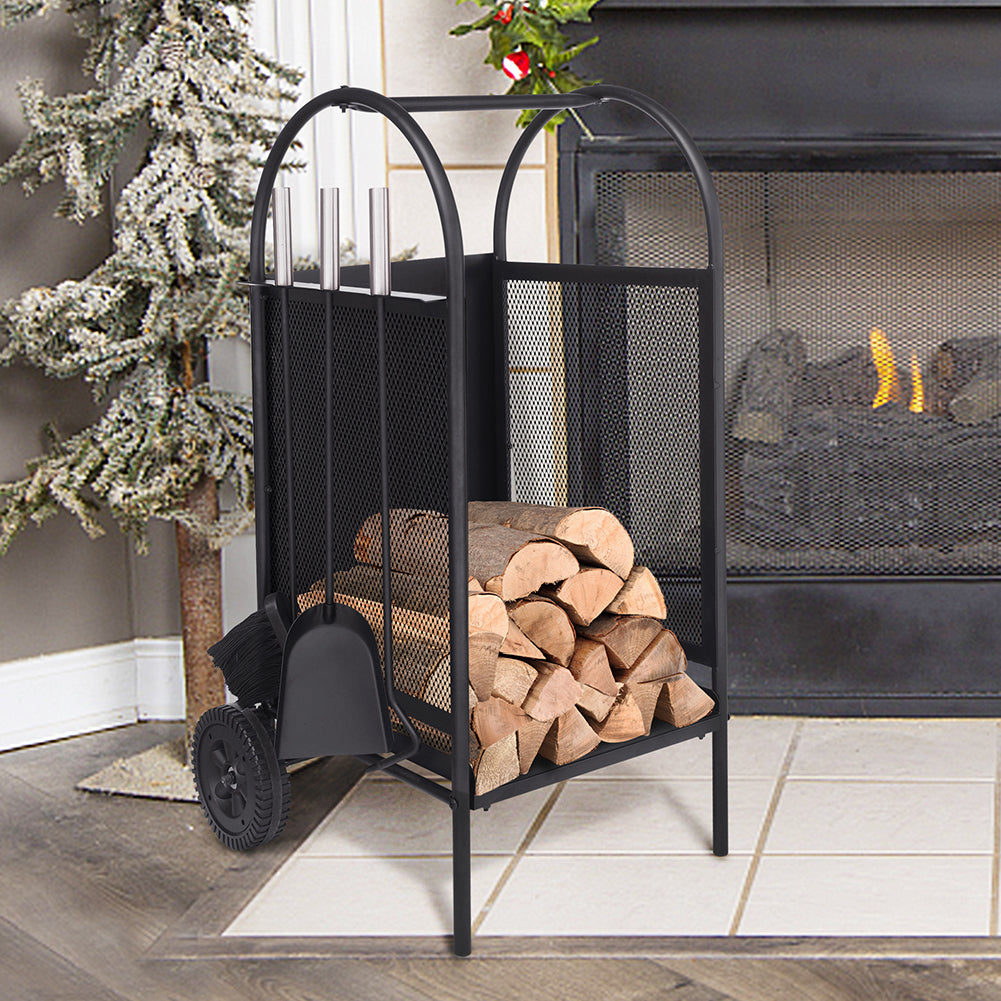 Fireplace Log Holder Rack / Fire pit Set / Outdoor Fireplace / Rack Holder With 2 Wheels