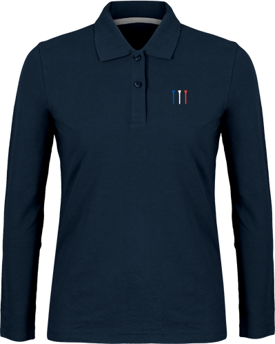 Polo manches longues brodé TEES BLEU BLANC ROUGE