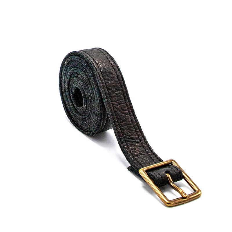 Jet Black Double Sided Leather Crossbody Belt with Solid Antique Brass Buckle - PaulyJen
