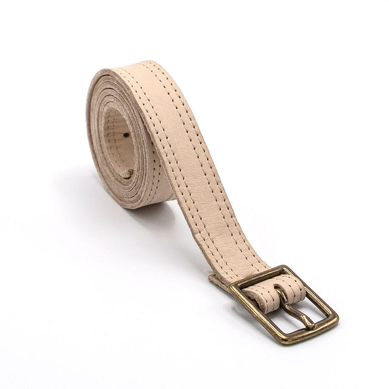 Putty Double Sided Leather Crossbody Belt with Antique Gold Buckle - PaulyJen