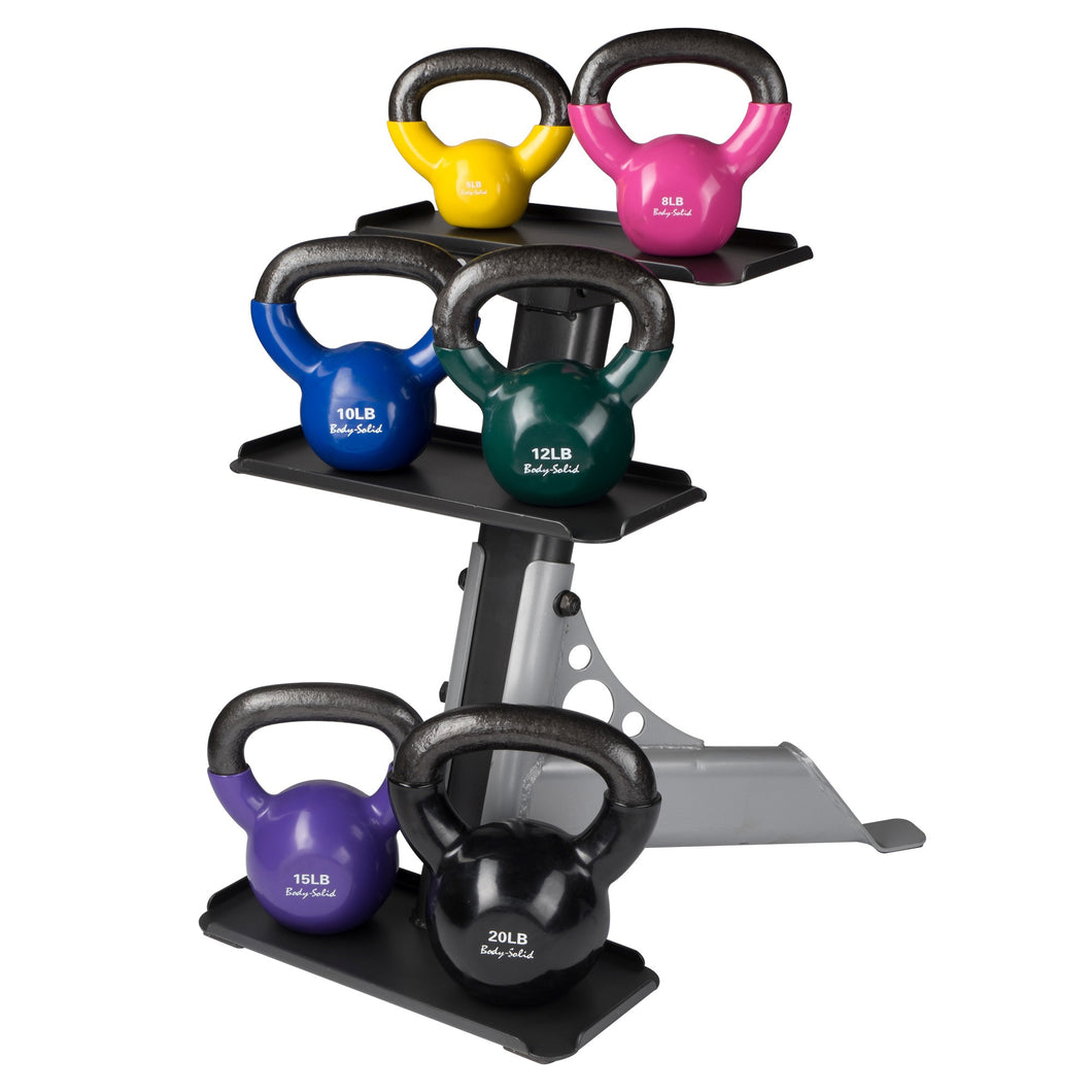Body Solid - Vinyl Coated Kettle Bells Set, One Each 5,8,10,12,15,20, with GDKR50 - ENVIOUS BODY
