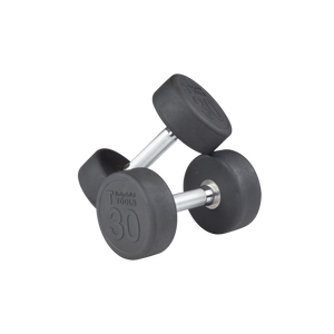 Body Solid - Rubber Round Dumbell 5-50lb pairs - ENVIOUS BODY