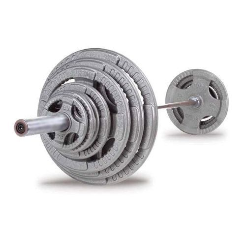Body Solid - 300 LB Cast Grip Oly Set, Chrome Bar - ENVIOUS BODY