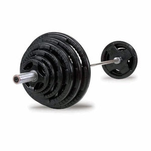 Body Solid - 400 LB Rubber Grip Oly Set, Chrome Bar - ENVIOUS BODY