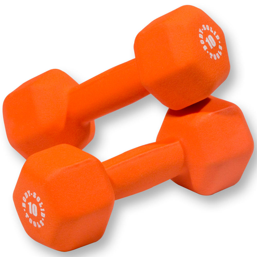 Body Solid - Orange 10lb Neoprene Dumbell - ENVIOUS BODY