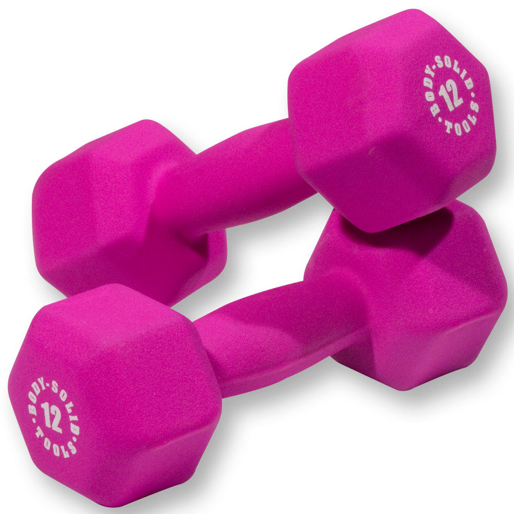 Body Solid - Magenta 12lb Neoprene Dumbell - ENVIOUS BODY