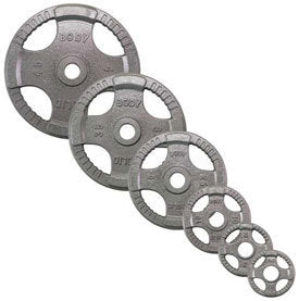 Body Solid - Grey Hand Grip Oly Plate 455LBS - ENVIOUS BODY