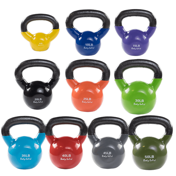 Body Solid - Vinyl Coated Kettle Bells Set 5-50 - ENVIOUS BODY
