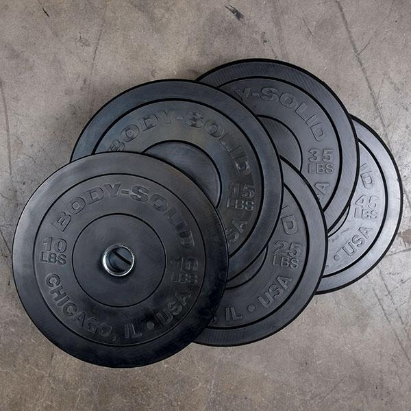 Body Solid - 260lb Bumper Set Black, Pairs 10,15,25,35,45,  Full Commercial - ENVIOUS BODY