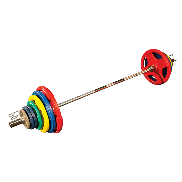 Body Solid - 300 LB. COLORED RUBBER GRIP OLYMPIC PLATE SET - ENVIOUS BODY