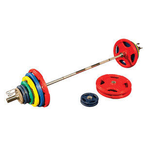 Body Solid - Colored 400 LB Rubber Grip Oly Set, Chrome Bar - ENVIOUS BODY