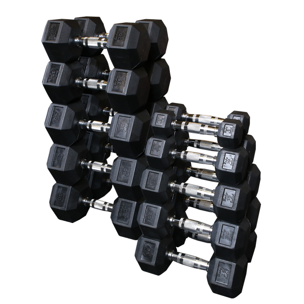 Body Solid - Rubber Hex Dumbell 5-50lb pairs - ENVIOUS BODY