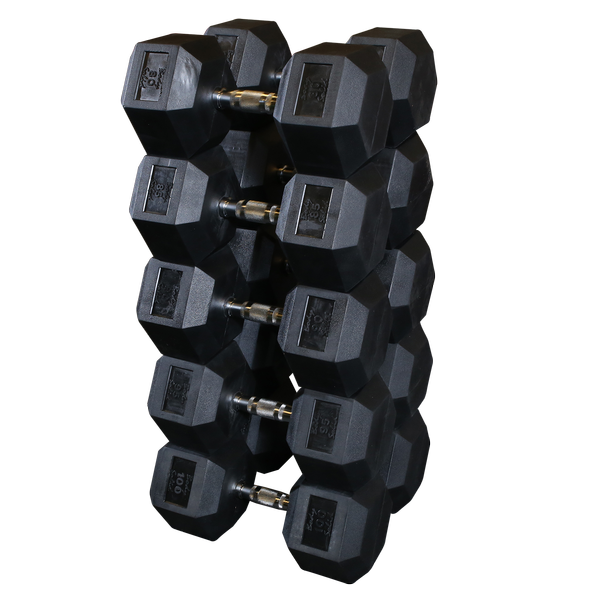 Body Solid - Rubber Hex Dumbell 80-100lb pairs - ENVIOUS BODY