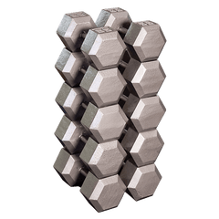 Body Solid - Grey Hex Dumbell Set 55-75lb Pairs - ENVIOUS BODY