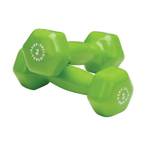 Body Solid - Green 3lb Vinyl Dumbell - ENVIOUS BODY