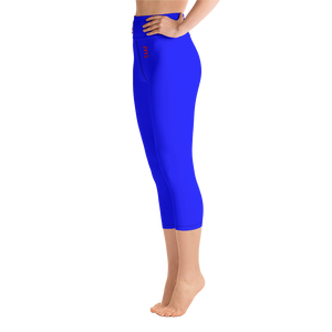 Blue - Over Belly Button Capri Leggings - ENVIOUS BODY