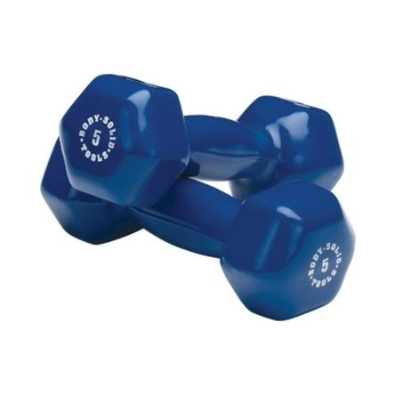 Body Solid - Blue 5lb Vinyl Dumbell - ENVIOUS BODY