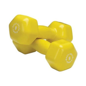 Body Solid - Yellow 9lb Vinyl Dumbell - ENVIOUS BODY