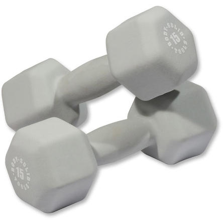 Body Solid - Gray 15lb Neoprene Dumbell - ENVIOUS BODY