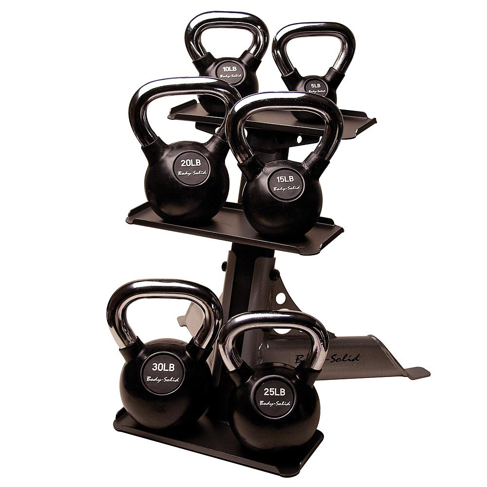 Body Solid - Chrome Handle, Rubberized Kettle Bell Set 5-30 Singles, w/ GDKR50 - ENVIOUS BODY