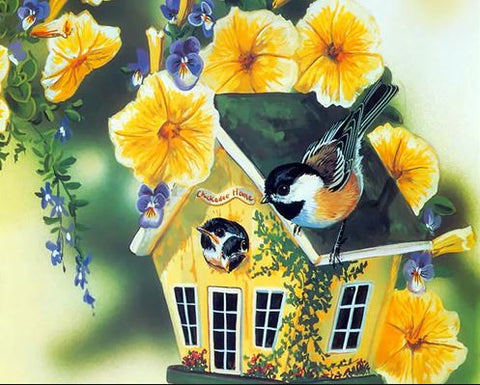 Bird Houses With Yellow Flower - Birds Paint By Numbers