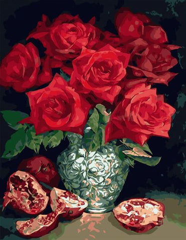 Beautiful Pomegranate Roses - Flowers Paint By Numbers