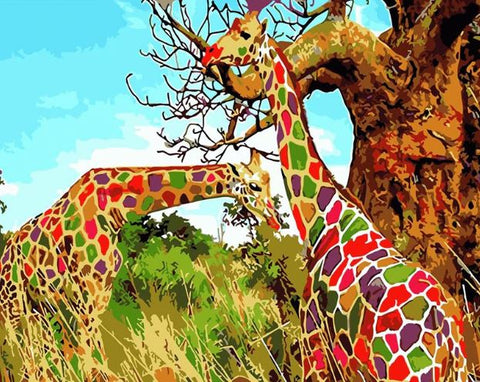 Giraffe Colorful - Animals Paint By Numbers