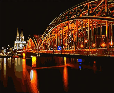 Cologne Bridge At Night - Cities Paint By Numbers