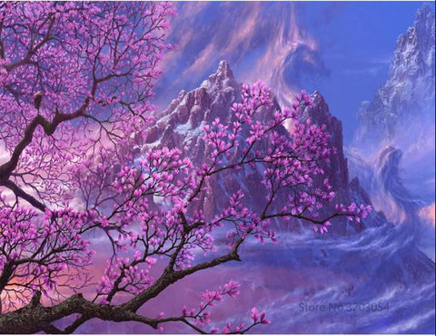 Cherry Blossom Tree - Landscape Paint By Numbers