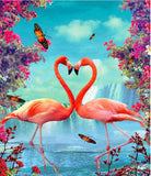 Flamingo Couple Heart - Birds Paint By Numbers