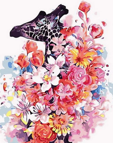 Flowers Giraffe- Animals Paint By Numbers