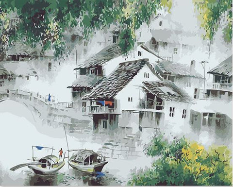 Chinese ancient town Jiang - Cities Paint By Numbers