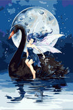Girl Black Swan - Birds Paint By Numbers