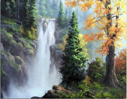 Tree Waterfall - Landscape Paint By Numbers