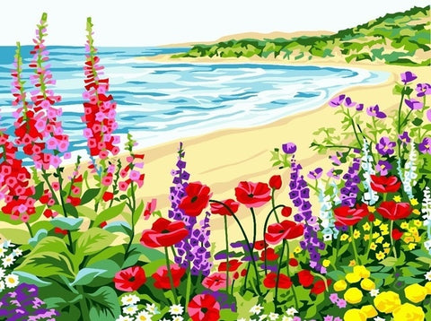 Flowers on The Beach - Landscape Paint By Numbers
